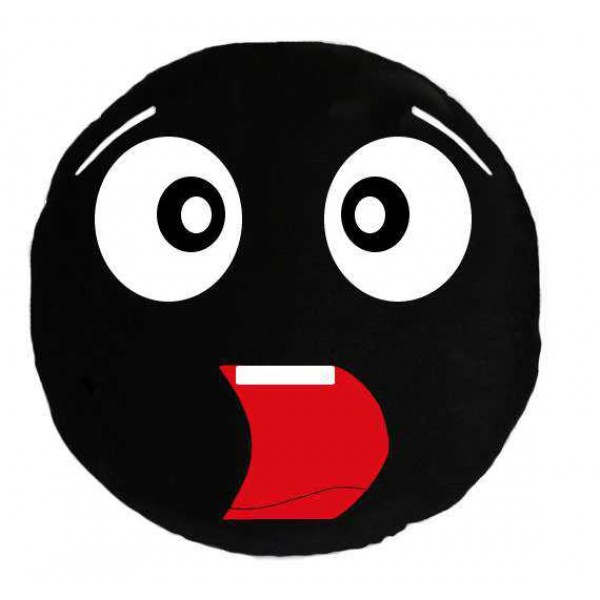 Soft Smiley Emoticon Black Round Cushion Pillow Stuffed Plush Toy Doll (Astonished)